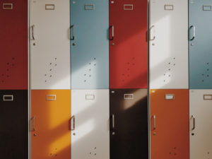Image of a wall of lockers for the Typical facilities in UK schools post